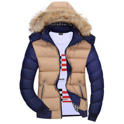 Men Color Matching Hooded Fur Collar Warm Parka Coat