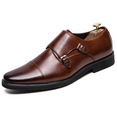 AILADUN Men's Large Size Pointed Toe Wiping Leather Shoes