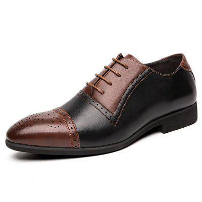 AILADUN Men's England Style Carved Stitching Lace Small Leather Shoes