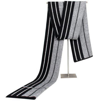 New Autumn and Winter Knitted Blend Young Scarf Middle-aged and Old Striped Imitated Cashmere Scarve