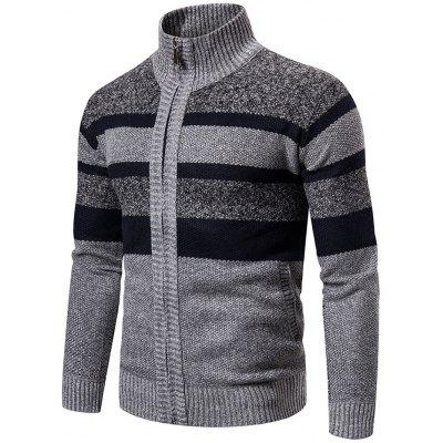 Men's Winter Sweater Plus Velvet Thick Stand Collar Striped Knit Cardigan Jacket
