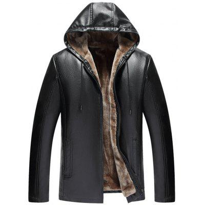 Men's PU Leather Hooded Plus Velvet Jacket