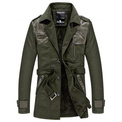 Men's Plus Velvet Warm Trench Coat