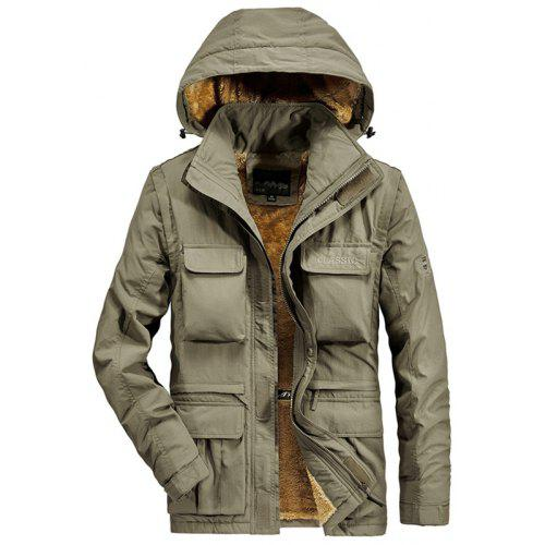 Mens Classic Jacket Pure Cotton Military Jacket Multi-Pocket Casual Coat