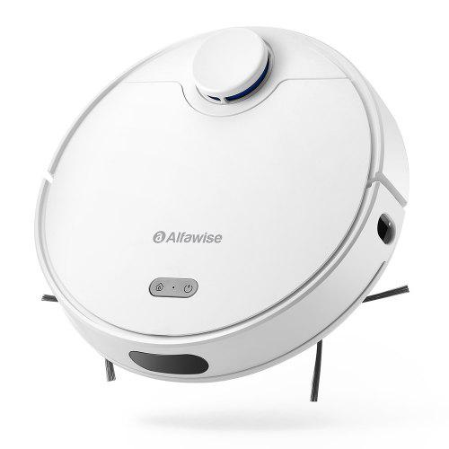 Gearbest Alfawise V10 Max Laser Navigation Robot Vacuum Cleaner 2 in 1 Sweeping Mopping Auto Recharge Resumption Smart APP Control Support Alexa Google Home - White