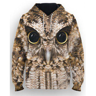Hip-hop European and American Large Size Men's Long-sleeved Print Hoodie 3D Owl Pattern Couple Loose Sweatshirt
