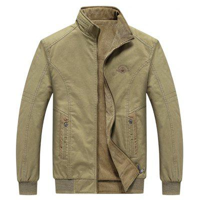 Men's Stand Collar Double-sided Wear Jacket Front Cotton Back Side Corduroy