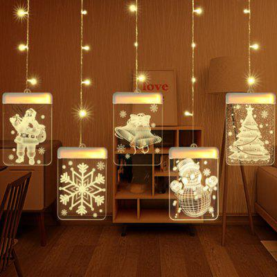 3D LED Lamp van Kerstmis Hangende Bell sneeuw Romantische Kamer Decorative Curtain Light