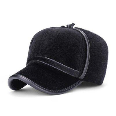 Men's Middle-aged Korean Style Imitated Mink Earmuff Hat Winter Outdoor Warm Baseball Cap