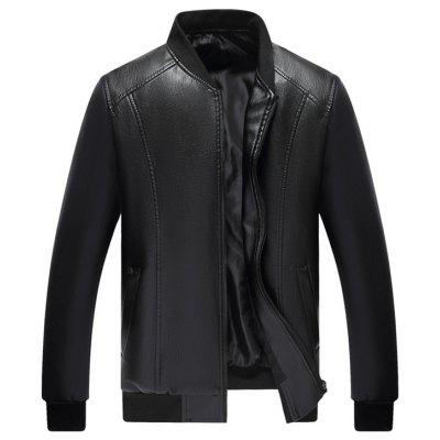 Middle-aged Men PU Leather Jacket Coat