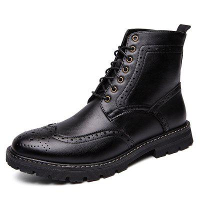 AILADUN Men's High-top Boots England Business Casual Carved Dress Shoes