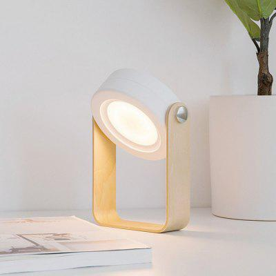Portable Telescopically Folding Lantern LED Reading Table Lamp USB Charging Night Light with Wooden Handle