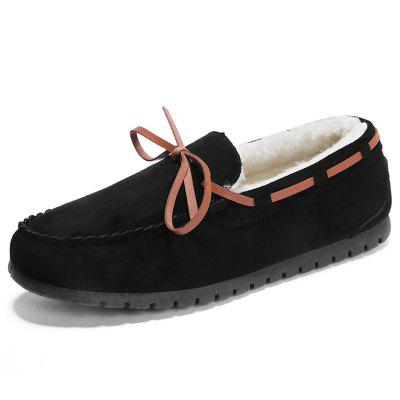 Men Winter Peas Shoes Plus Velvet Flat Footwear