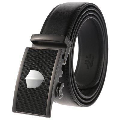 Pánská móda Casual Belt Alloy Automatic Buckle Leather Pas