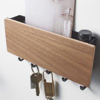 Japanese Style Wood Key Storage Wall Hook Prateleira Engredada Organizer Shelf