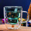 Christmas Tree Design Double-layer Glass Mug Cold Hot Resistant Structure Transparent Gift Cup - TRANSPARENT