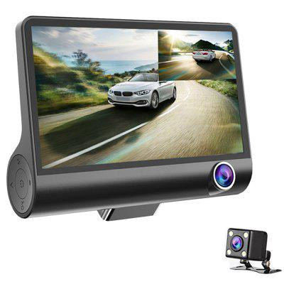 3 Lens WDR Dash Camera 4 inch Display HD 1080P Car DVR Video Recorder 170 Degree Wide Angle with Water-resistant Rear