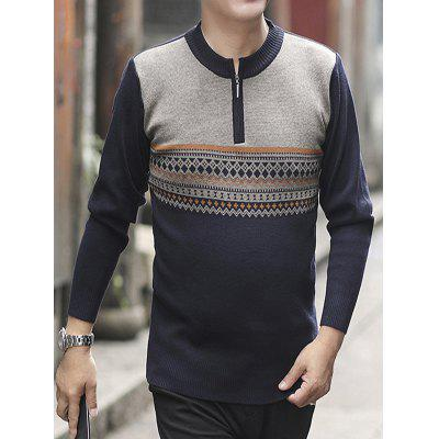 Middle-aged Men's Sweater Geometric Pattern Loose and Warm