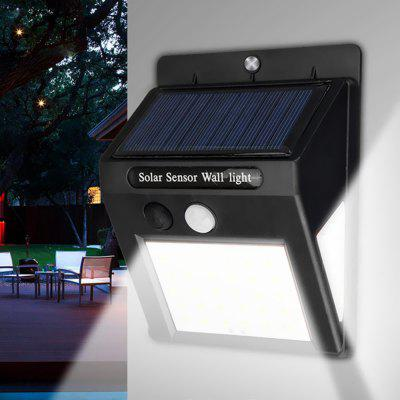 3 Sides Surface Emission Solar Power Body Sensor PIR Wall Light Outdoor IP64 Waterproof Lamp