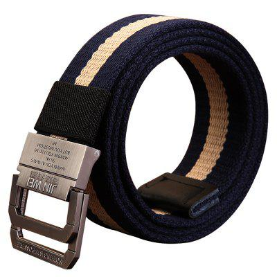 Double Buckle Canvas Belt Unisex Outdoor Casual Woven Waistband
