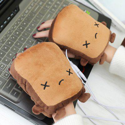Print Mooie Cartoon Warm Open Toe handschoenen USB opladen Verwarming Glove