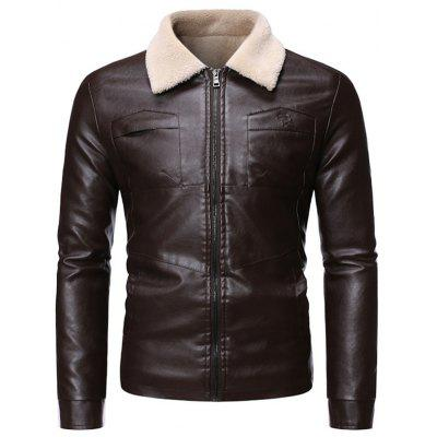 Men's Plus Velvet Thick Fur Integrated Lamb Leather Jacket Coat Turn-down Collar