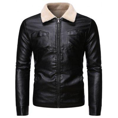 Męska Plus Velvet Thick Fur Zintegrowany Lamb Leather Jacket Coat Turn-down Collar