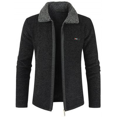 Men's Casual Plus Velvet Thickening Turn-down Collar Sweater Jacket