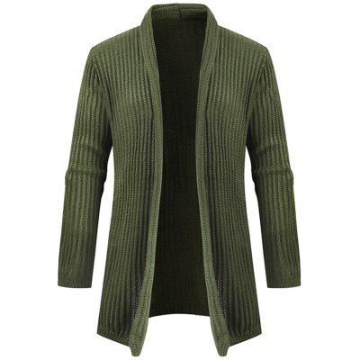 Mid-length Men's Solid Color Casual Sweater Cardigan