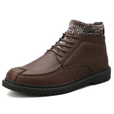 Men's Autumn and Winter Brock Style Casual Leather Hosiery Boots