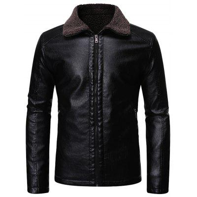 Men's Plus Velvet Warm Winter Leather Jacket Casual Fashion Top