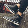 Men's British Work PU Leather Boots High-top Plus Velvet Thick Snow Shoes - BLACK