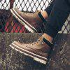 Men's British Work PU Leather Boots High-top Plus Velvet Thick Snow Shoes - BROWN