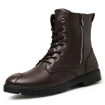 Men's Fashion Metal Zipper Lace High-top Boots Shoes