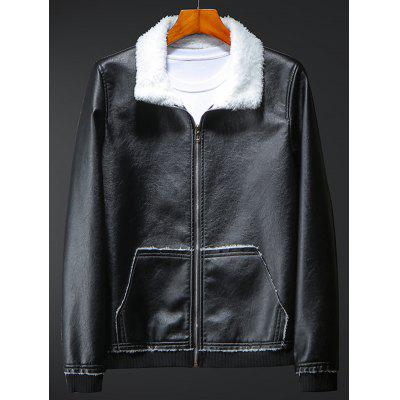 Men's Plus Velvet Leather Jacket Turn-down Collar Fashion Casual Leather Coat