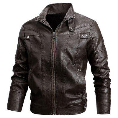 Men's Short PU Leather Jacket Motorcycle Plus Velvet Coat