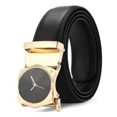 Watch Shape Automatic Round Buckle Men's Belt with Clock Second Pointer Face