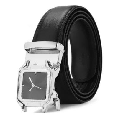 Watch Shape Automatic Square Buckle Men's Belt with Clock Second Pointer Face