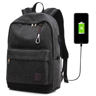USB-poort opladen Backpack Men's Canvas Materiaal Korean Style Outdoor Leisure Travel Sports Bag