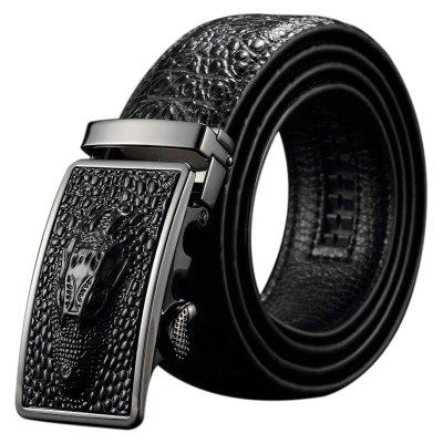 Personalized Dragon Head Pattern Men's Cowhide Leather Belt with Crocodile Pattern Automatic Buckle