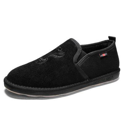 Men's Casual Cotton Warm Flat Shoes with Embroidery Pattern