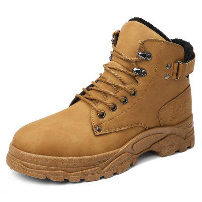 Winter Men's PU Leather Snow Boots Water-resistant Cotton Shoes