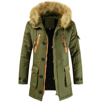 Men's Winter Mid-length Plus Size Parka Coat with Removable Hood