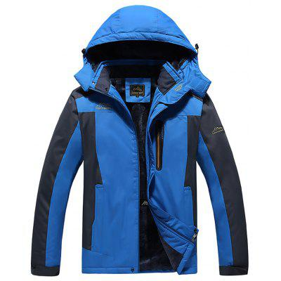 Men's Winter Stitching Long Sleeve Thickening Outdoor Casual Jacket Coat