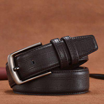 Men's Belt with Alloy Material Pin Buckle Fashion Solid Color Two-Layer Cowhide Leather