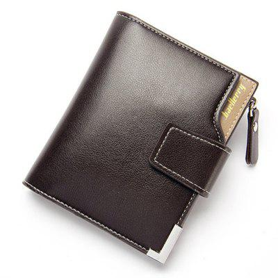 Men's PU Leather Casual Wallet Vertical Section Zipper Card Holder Purse