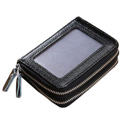 Double Zipper Transparent Window Multi-card Men's Leather Wallet with Card Holder Funtion