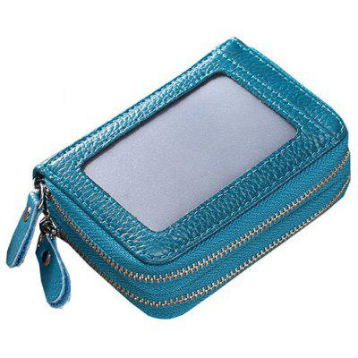 Double Zipper transparant venster Multi-card Heren Leather Wallet met kaarthouder Funtion