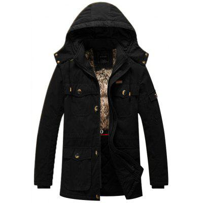 Men Winter Washed Cotton Plus Thick Velvet Hooded Jacket Coat