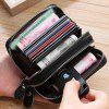 Double Zipper Transparent Window Multi-card Men's Leather Wallet with Card Holder Funtion - BLACK